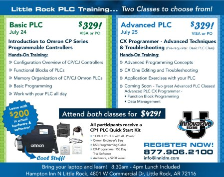 Omron PLC training Little Rock July 24 & 25