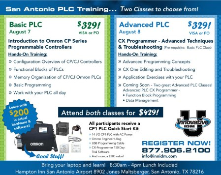 Omron PLC training San Antonio Aug 7 and 8