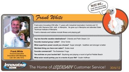 Buzz Welcomes Frank White to Innovative-IDM