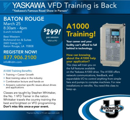 Yaskawa VFD training Baton Rouge March 2013