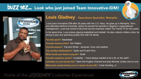Buzz Sez welcome to Louis Gladney