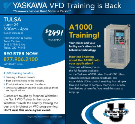 Yaskawa VFD training in Tulsa June 24