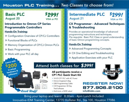 Omron PLC training in Houston August 20 and 21