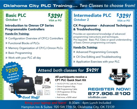 Omron PLC training in Oklahoma City October 1 and 2