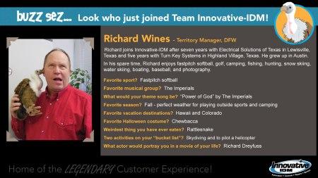 Buzz welcomes Richard Wines to Innovative-IDM