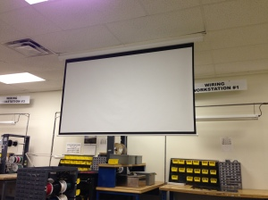 New Projector Screen for training videos