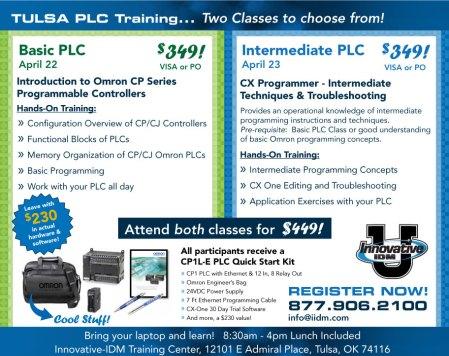 Omron PLC training Tulsa April 22 and 23, 2014