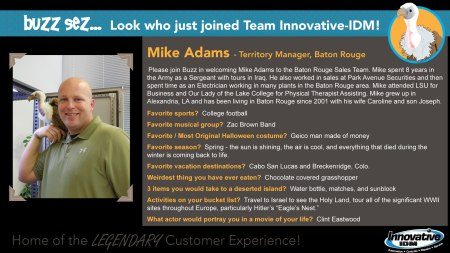 Buzz welcomes Mike Adams to Innovative-IDM