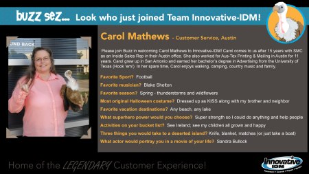 Buzz Welcomes Carol Mathews to Innovatie-IDM