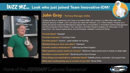Buzz Welcomes John Gray to Innovative-IDM