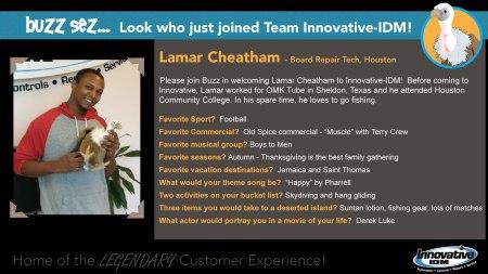 Buzz Welcomes Lamar Cheatham to Innovative-IDM