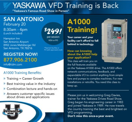 Yaskawa A1000 training San Antonio February 2015